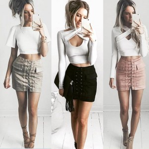 Suede lace up rok